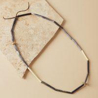 Mixed greys hand rolled porcelain beads on leather twine elizabeth-renton