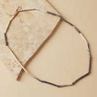 Speckled Spring colours porcelain Necklace L.48cm on leather twine elizabeth-renton_14589
