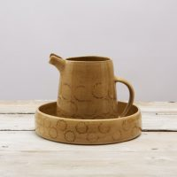 Stoneware Bowl with Jug Mustard decorated with curly rings elizabeth-renton_