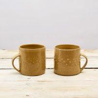 Stoneware Mustard Mugs x2 decorated with raised dots