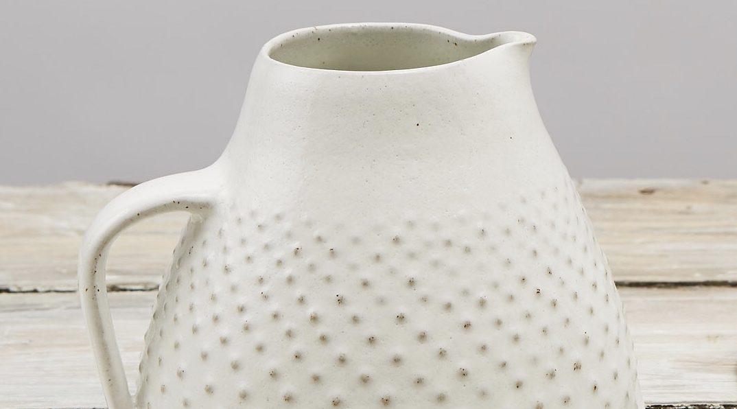 Stoneware White Jug decorated with raised dots elizabeth-renton