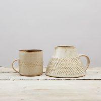 Stonewear Mug Chun glaze and Cream Stonewear jug